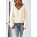 Solid Long Sleeve V Neck Loose Soft Leisure Knit Sweater
