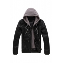 Trendy Gray Hood Patchwork Long Sleeve Multi-Zip Embellished PU Zip Up Black Coat