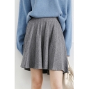 High-Waist Basic Solid Fashion Knitted Mini A-Line Pleated Skirt for Girls