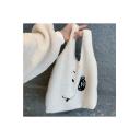 Lovely Cartoon Smile Face Embroidered Large Capacity Fleece Handbag