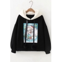 Cute Christmas Girl Printed Long Sleeve Pom Pom Embellished Hoodie