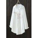 Sweet Cartoon Girl Embroidered Spread Collar Long Sleeve Button Front Longline White Shirt