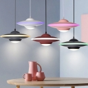 Spacecraft LED Hanging Lights Nordic Style Acrylic Single Light Pendants in Black/Burgundy/Pink/White