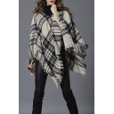 Winter's Check Pattern Fashion Tassel Hem Warm Pullover Poncho Sweater