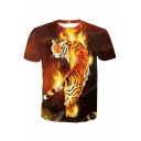 Hot Popular 3D Fire Tiger Printed Crewneck Short Sleeve Pullover Yellow T-Shirt