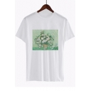 Chic Floral Oil Painting Print Round Neck Short Sleeve White Casual T-Shirt