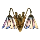 Stained Glass Floral Wall Mount Light Tiffany Style 2 Lights Wall Light Sconce with Mermaid