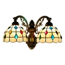 Beige Dome Wall Lighting Tiffany Style Stained Glass 2 Light Wall Lamp with Bead Decoration