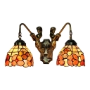Floral Wall Light Fixture Tiffany Retro Style Stained Glass 2 Heads Wall Sconce in Red