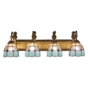 Stained Glass Dome Lighting Fixture Tiffany Mediterranean Style 4 Lights Wall Light in Blue