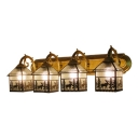 Ripple Glass House Wall Lighting Tiffany Lodge Style 4-Light Lighting Fixture for Corridor