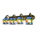 4 Lights Checkered Pattern Wall Light Tiffany Style Stained Glass Wall Sconce in Multicolor