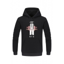 Fancy Cotton Black Graphic Floral Long Sleeve Mens Pullover Hoodie