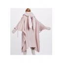 Funny Cartoon Rabbit Ear Design Plan Coral Fleece Flush Wearable Hooded Blanket