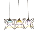 Multicolored Dome Hanging Lamp Tiffany Style Stained Glass 3 Lights Pendant Light for Foyer