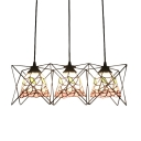 Blue/Pink Floral Hanging Lamp Tiffany Style Glass 3 Lights Suspension Light with Metal Cage