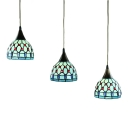 Aqua Jeweled Suspended Lamp Tiffany Style Stained Glass 3 Lights Drop Light for Bedroom