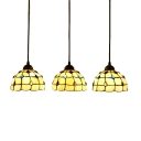Amber Glass Dome Lighting Fixture Tiffany Retro Style Triple Pendant Light for Living Room