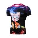 Fashion Cat Pizza Print Short Sleeve Crewneck T-Shirt