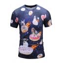 Navy Galaxy Dog Print Crewneck Short Sleeve Casual T-Shirt