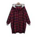 Leisure Long Sleeve Plaid Printed Button Down Rib Cuff Hooded Shirt