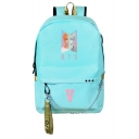 Cool Light Blue BTS Character Print Chain Detail Zippered Backpack Bag for Students
