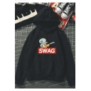 Squidward Letter SWAG Printed Sports Long Sleeve Cozy Hoodie for Juniors