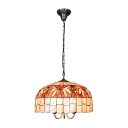 Floral Style Hanging Lamp Tiffany Style Shelly 3 Head Suspended Light in Multi Color