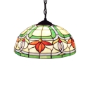 Floral Suspension Light Tiffany Style Adjustable Stained Glass 1 Light Accent Drop Light
