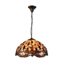 Adjustable Dragonfly Pendant Lamp Shelly Tiffany Stained Glass 3 Light Drop Light in Multicolor