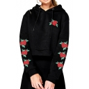 Crop Long Sleeve Floral Embroidered Loose Hoodie