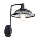 Iron Mesh Cage Wall Light Vintage 1 Head Lighting Fixture in Black Finish with Curved Arm
