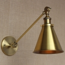 Industrial Conical Wall Lamp Vintage Steel 1 Bulb Wall Light in Brass for Coffee Shop