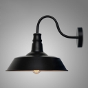 Metal Barn Shade Wall Light Vintage Simple 1 Bulb Sconce Lighting in Black for Foyer