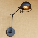 Adjustable Semicircle Sconce Light Retro Style Iron 1 Bulb Wall Light in Black for Bedroom