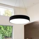 Aluminium Round Shade LED Pendant Lamp Modern White Hanging Light Fixture for Meeting Room 14