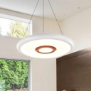 Modern Style Disc Chandelier Acrylic Shade White/Warm/Neutral Light LED Pendant in White