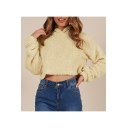 Stylish Chic Long Sleeve Plain Leisure Cropped Hooded for Girls