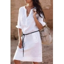 Hot Fashion Long Sleeve V-Neck Tied Waist Solid Basic Mini Shift Shirt Dress