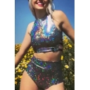 Summer's Hot Fashion Colorful Sequined Cut-Out Back Cropped Tank Sexy Lace-Up Side Silver Swimwear