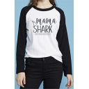 Colorblock Letter MAMA SHARK Printed Long Sleeve Round Neck Black Tee