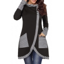 New Arrival Striped Pattern Cowl Neck Long Sleeve Asymmetrical Hem Sweatshirt