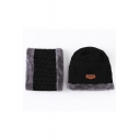 Thick Knit Warm Unisex Two Piece Rolled Cuff Fleece Beanie Hat Scarf Set