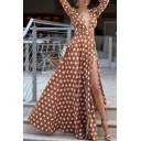 Hot Boho Style Plunge Neck Long Sleeve Polka Dot Printed Split Front Maxi Dress