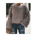 Winter's New Trendy Long Sleeve Round Neck Plain Fleece Sweatshirt