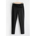 Velvet Wrap Waist Plain Leisure Cozy Black Pants