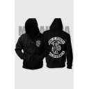 Unique Letter Skull Pattern Long Sleeve Regular Fitted Zip Up Hoodie
