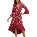 Unique 3/4 Length Sleeve V Neck Polka Dot Printed Tie Waist High Low Midi Dress