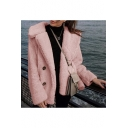 Winter's Long Sleeve Lapel Collar Double Buttons Plain Fleece Coat