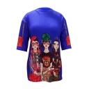 Fashion Cartoon Girl Pattern Crewneck Half-Sleeved Oversized Loose Tunic T-Shirt